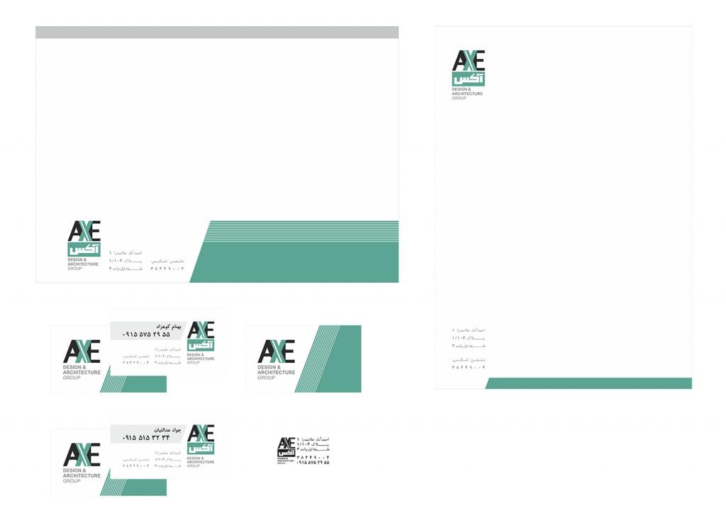طراحی لوگو و ست اداری شرکت معماری آکس از سِشات